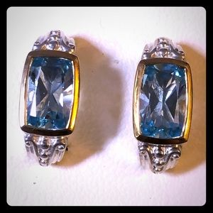 Sterling Silver, 18k Gold & Blue Topaz Earrings